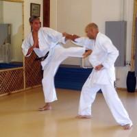 Leader David Lechuga demonstrates kicking